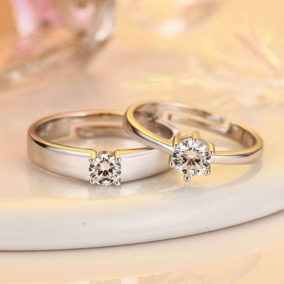 8923247dc1485 Simple open zircon couple rings for lovers adjustable white plated ...