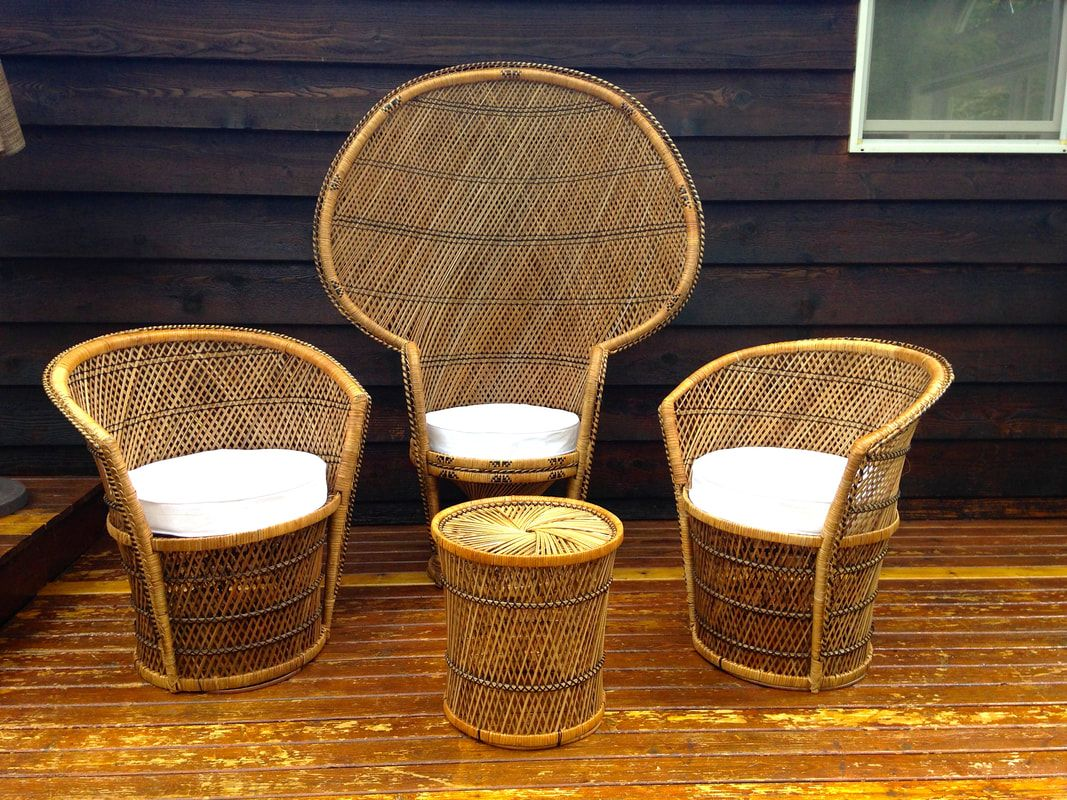 Vintage Wicker Throne Peacock Chair Patio Set With Side Table And Two Accent Chairs Vintage Wicker Patio Chairs Wicker