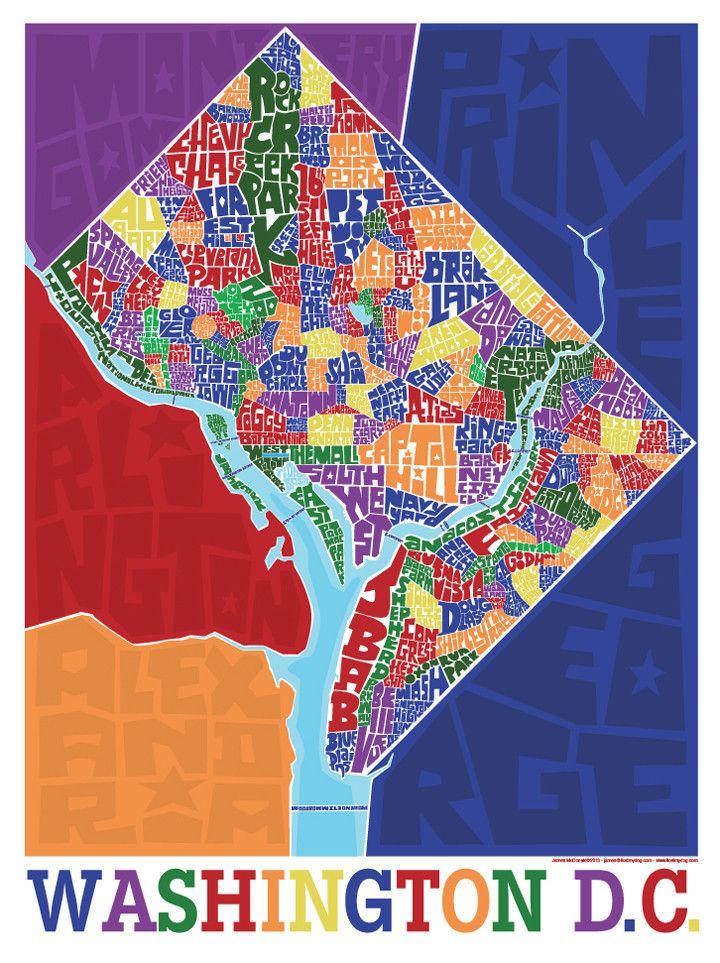 Washington DC Neighborhood Type Map | Prints | Washington dc map ...