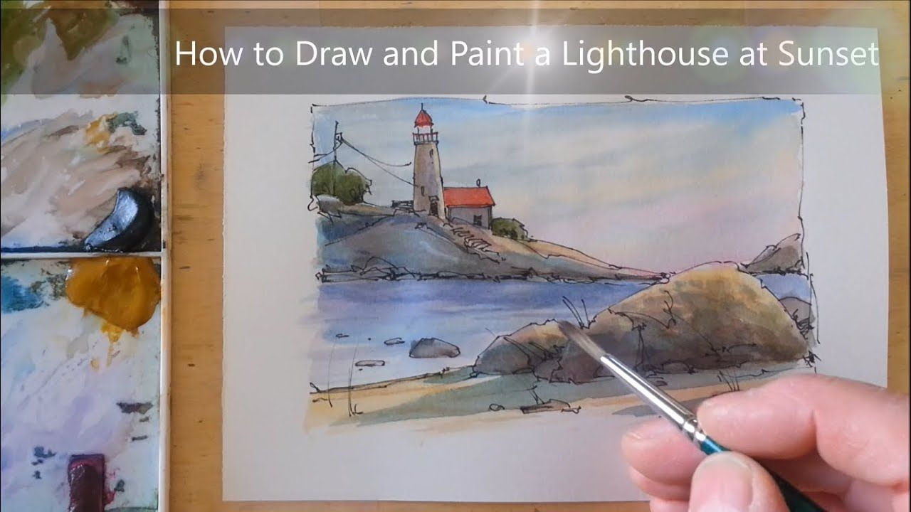 23 00 How To Draw And Paint Lighthouse At Sunset Line And Wash