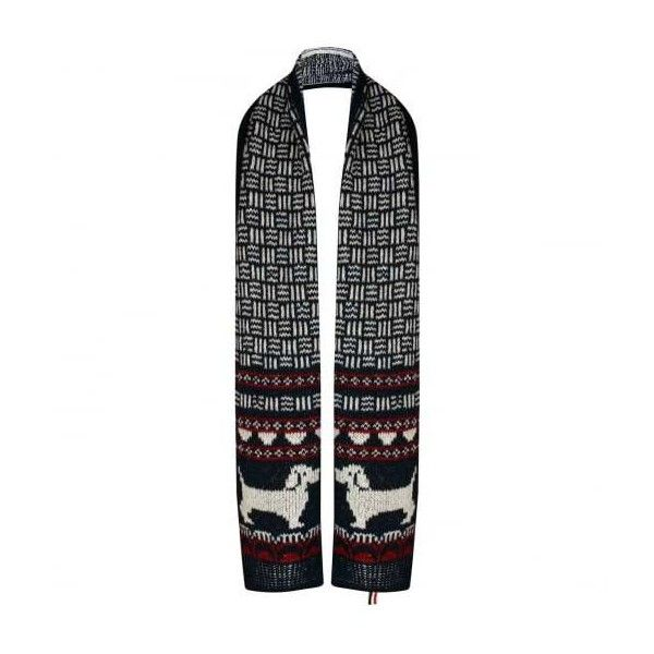 Thom Browne Hector Browne Fair Isle Knit Scarf Red/Blue/White ...