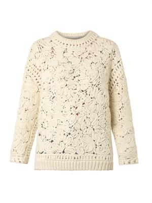 Crochet embroidered sweater