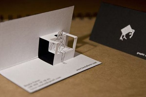 Impressive 3D Folding Business Cards Templates Created By Beata Faron For Self Promotion