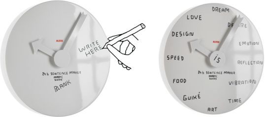 Designed By Marti Guixe For Alessi Blank Wall Clock Has No Markings At All It Has A Write Able Surface That Can Be Wiped Clear