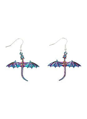 "<div>A dragon queen should adorn herself appropriately. These anodized dragon earrings from Blackheart should fit the bill. </div><div><ul><li style=""list-style-position: inside !important; list-style-type: disc !important"">Metal</li><li style=""list-style-position: inside !important; list-style-type: disc !important"">1 1/4"" long</li><li style=""list-style-position: inside !important; list-style-type: disc !important"">1 1/2"" wide</li><li style=""list-style-position: inside !important; list..."