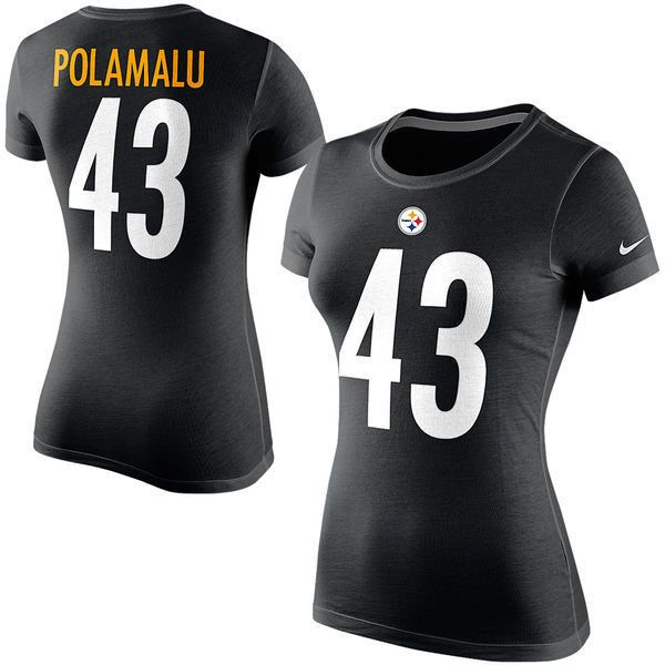 d086d19af Shirts. Tee. Women s Pittsburgh Steelers Troy Polamalu Nike Black Player  Name  amp ... ( 26
