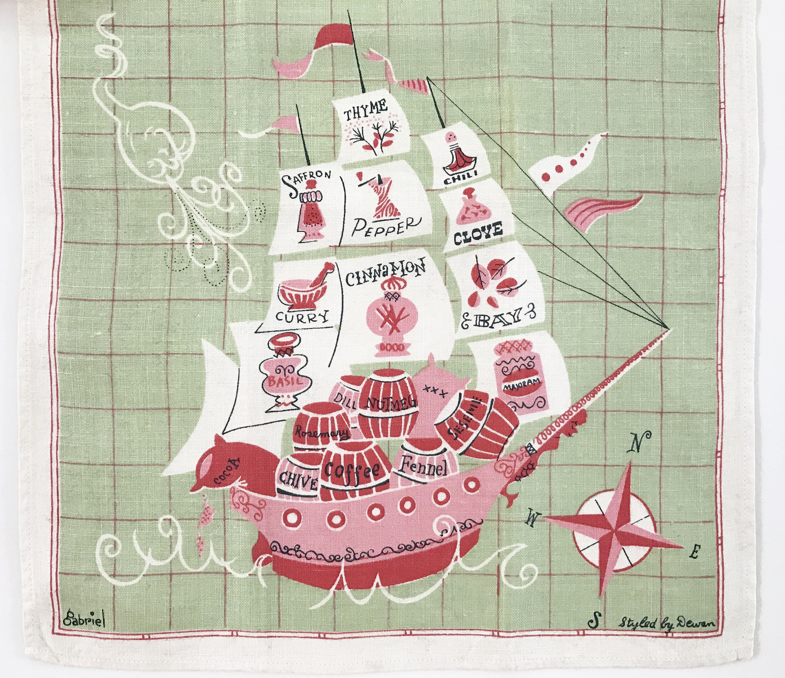 Vintage Tea Towel Spice Ship Boat Anthropomorphic Sun Whale Compass Rose Wall Hanging Textile Designer Gabriel by NeatoKeen on Etsy