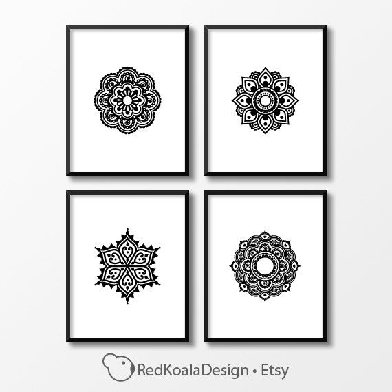 Mandala wall art set of 4 prints digital download set of four