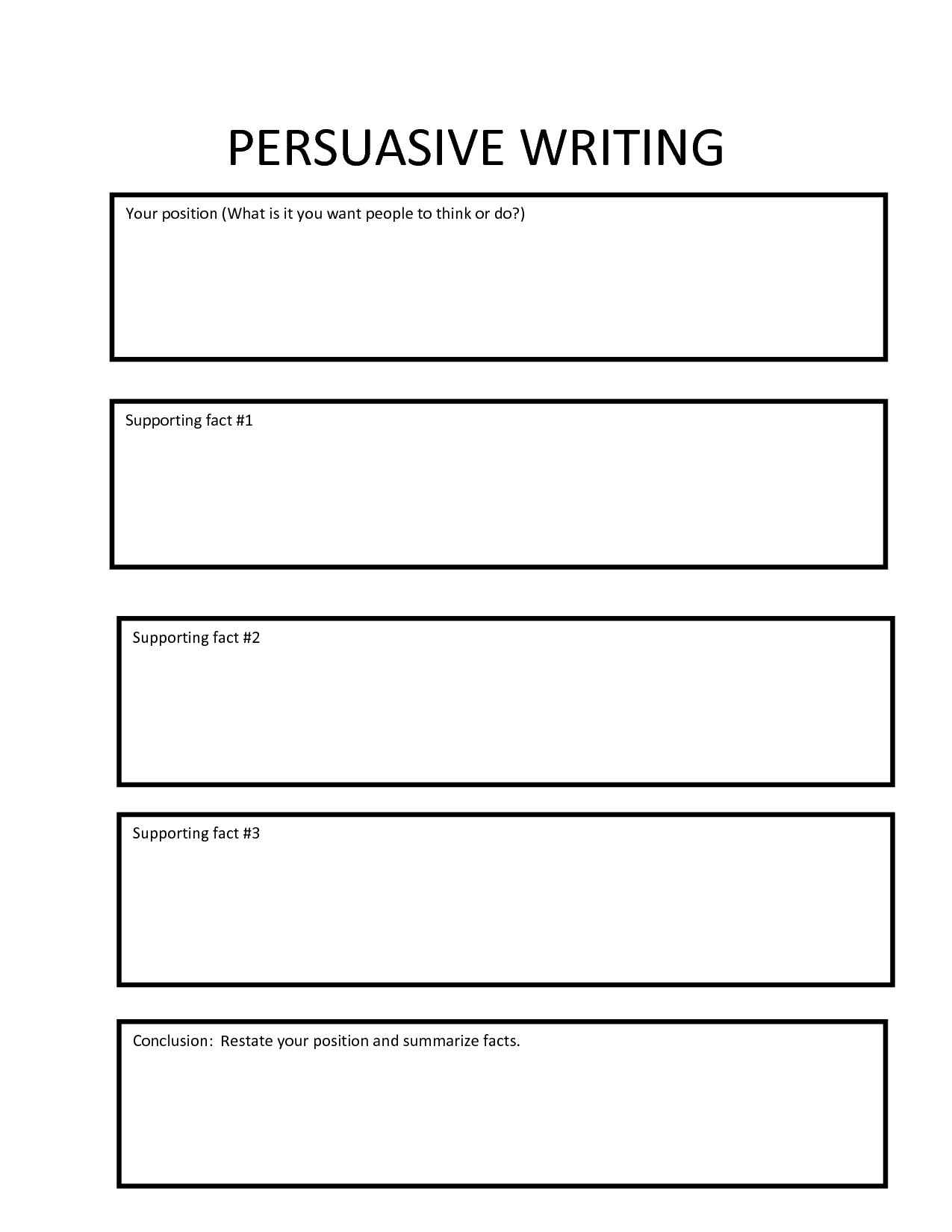 persuasive writing graphic organizer answer key