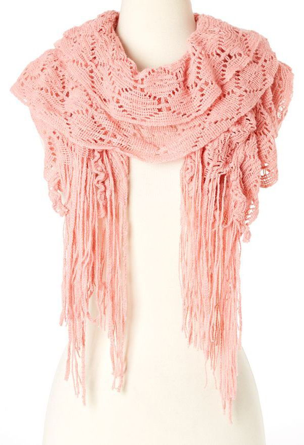 Oxford Street Accessories Pink Pointelle Ruffle Scarf
