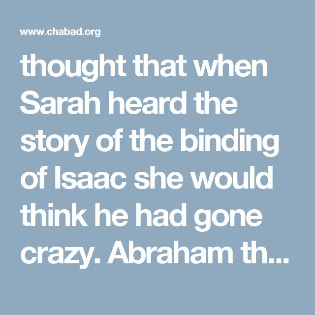 Thought That When Sarah Heard The Story Of The Binding Of