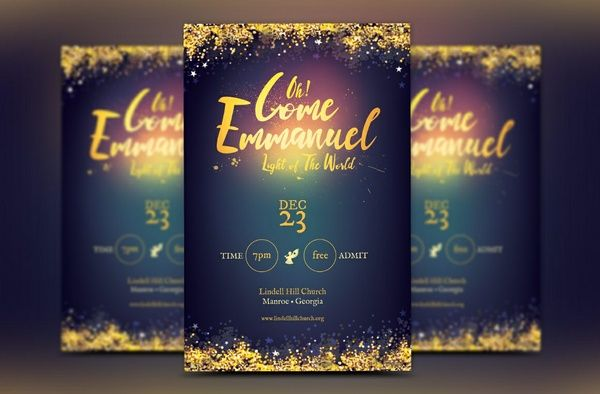 Emmanuel Christmas Cantata Flyer Template Graphics Print - microsoft publisher christmas templates