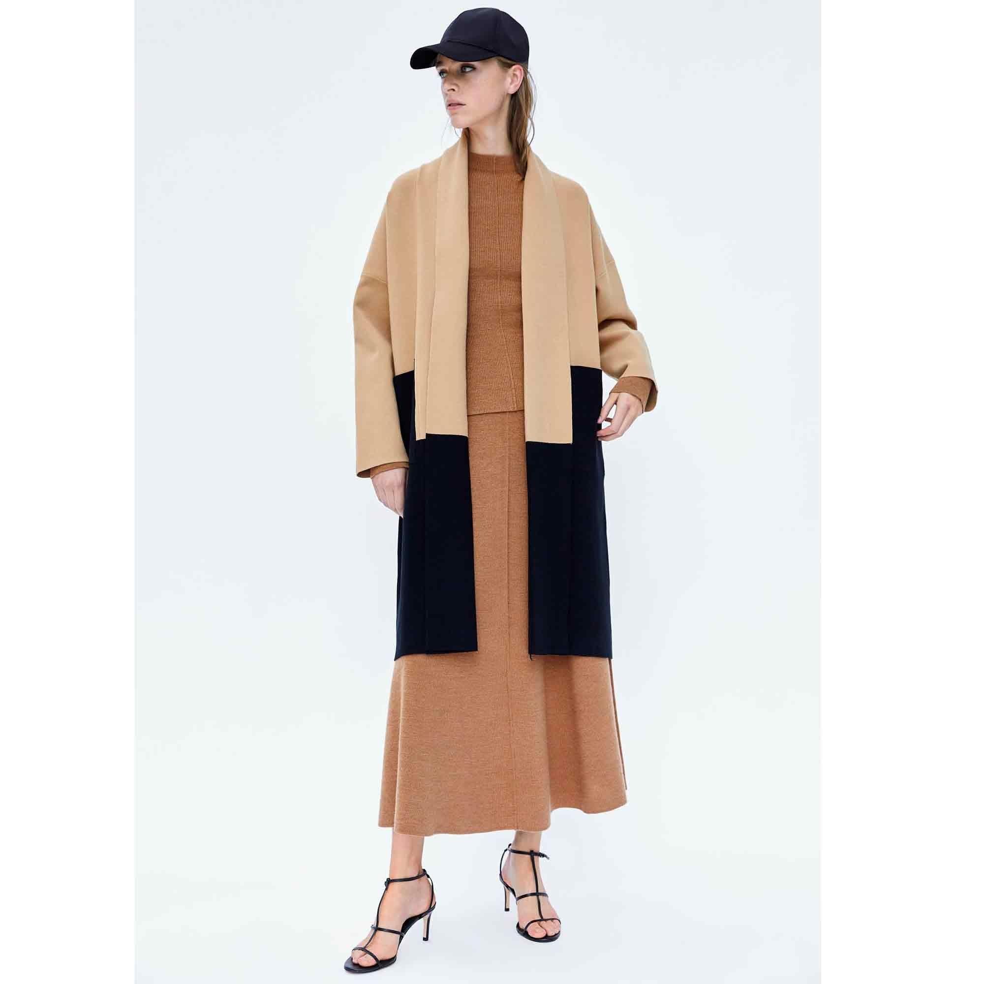 ZARA WOMAN Manteau en laine brun noir style décontracté