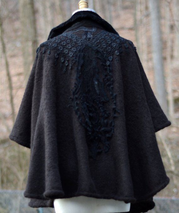 Victorian style black Wool Cape embellished wearable art