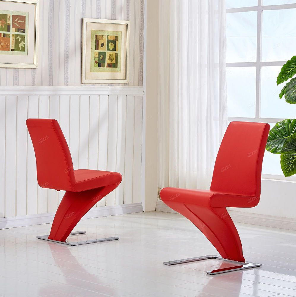 Cool Designer Lightning Shaped Chairs Pair Red Leather Effect Camellatalisay Diy Chair Ideas Camellatalisaycom