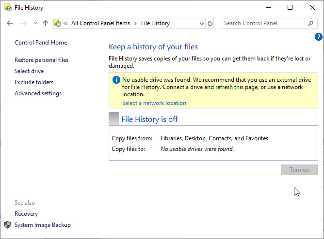 Windows 10 File History Not Working! [SOLVED] Solving