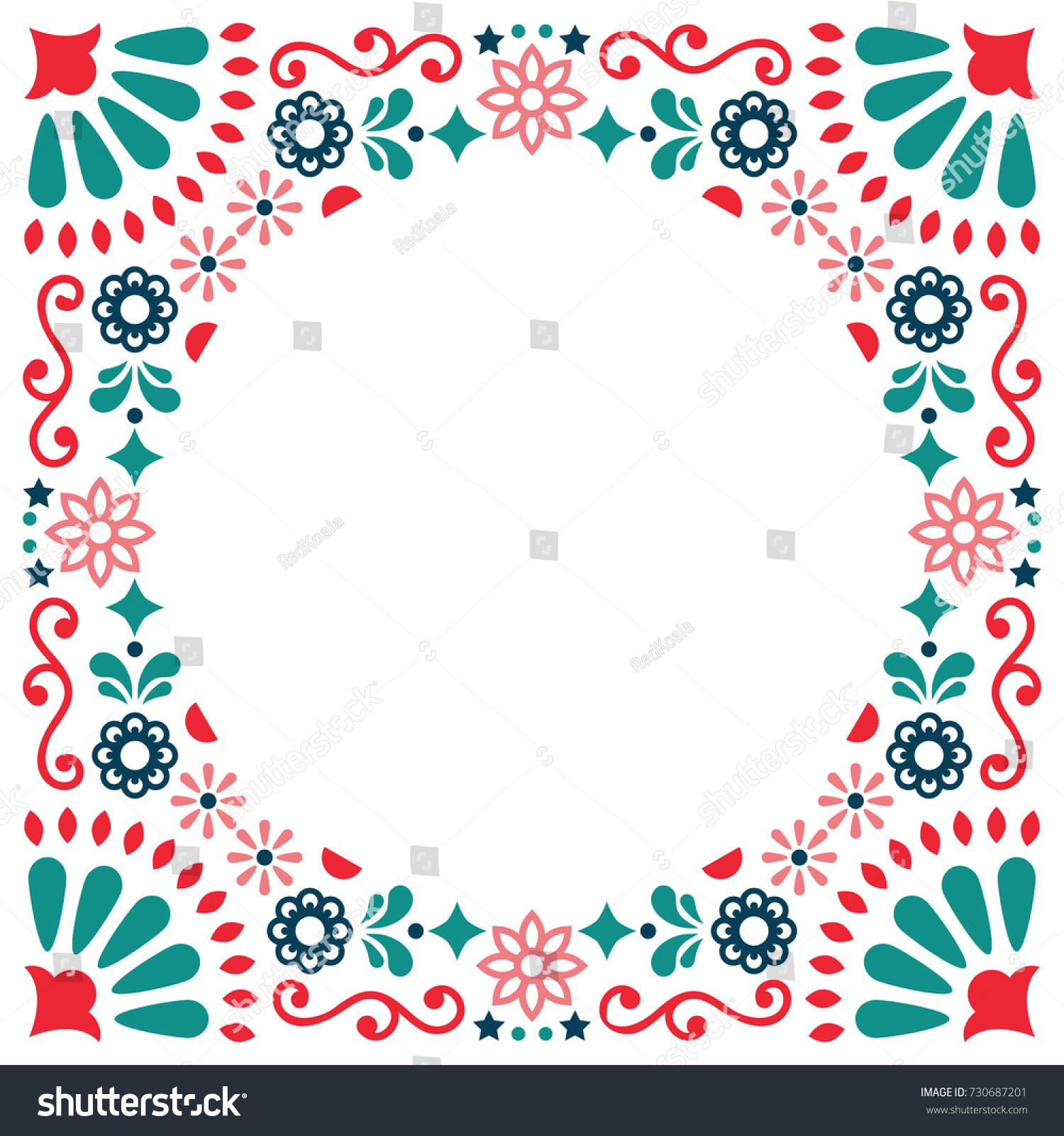 Mexican Folk Vector Greeting Card Wedding Or Party Invitation