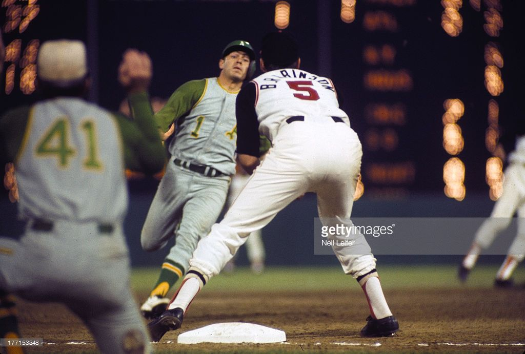 Oakland Athletics Dick Green (1) in action, running bases vs Baltimore Orioles…