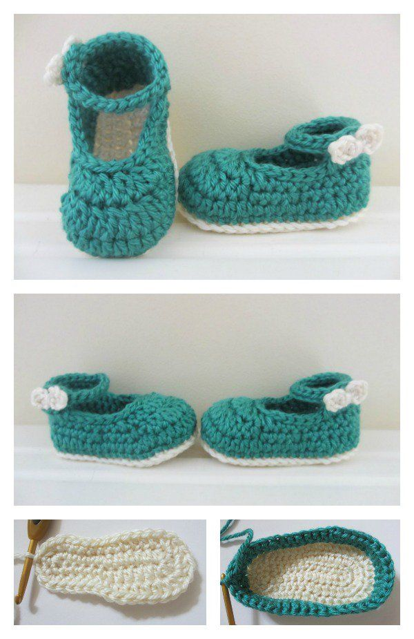Crochet Baby Mary Jane Booties Free Patterns | Zapatitos bebe ...