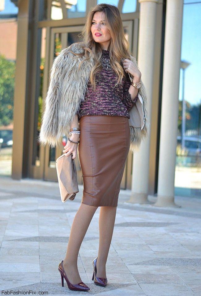 Zara faux fur coat, Zara brown leather skirt and Zara burgundy ...