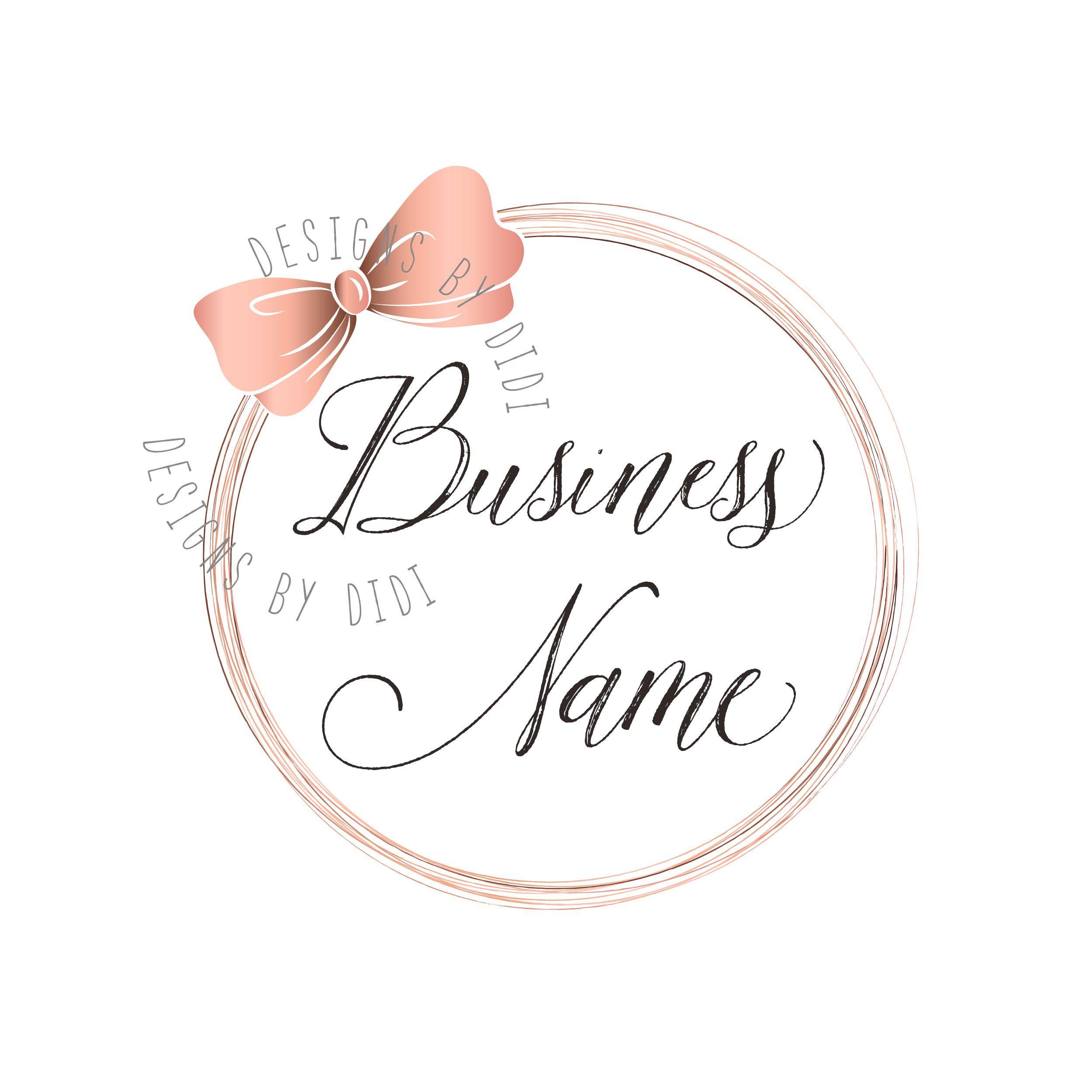 Custom logo design, cute pink bow logo, pink gold bow logo