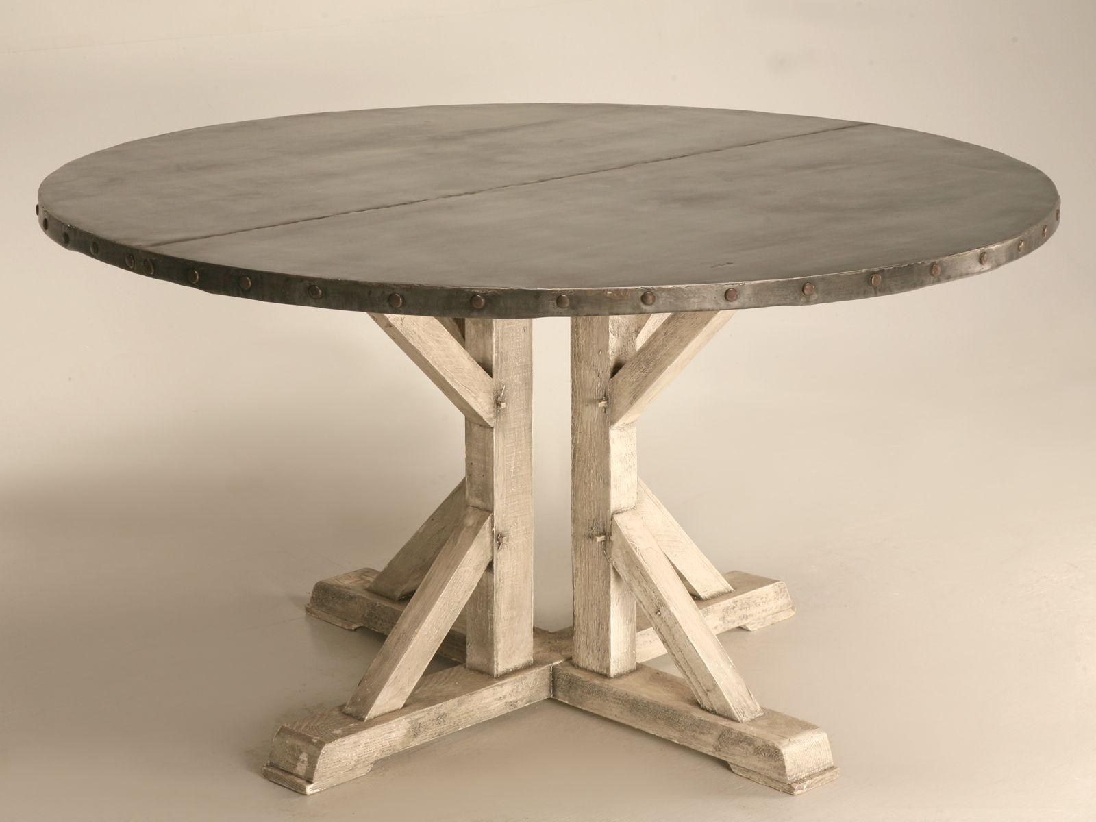 Round Zinc Kitchen Table  Kitchen table, Dining table, Round