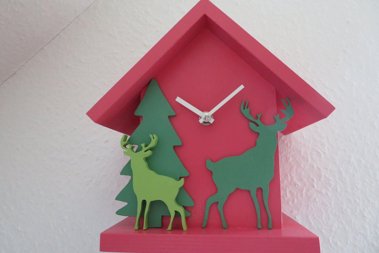 Schwarzwalduhr Als Moderne Wanduhr Jagduhr Mit Hirsch Uhr