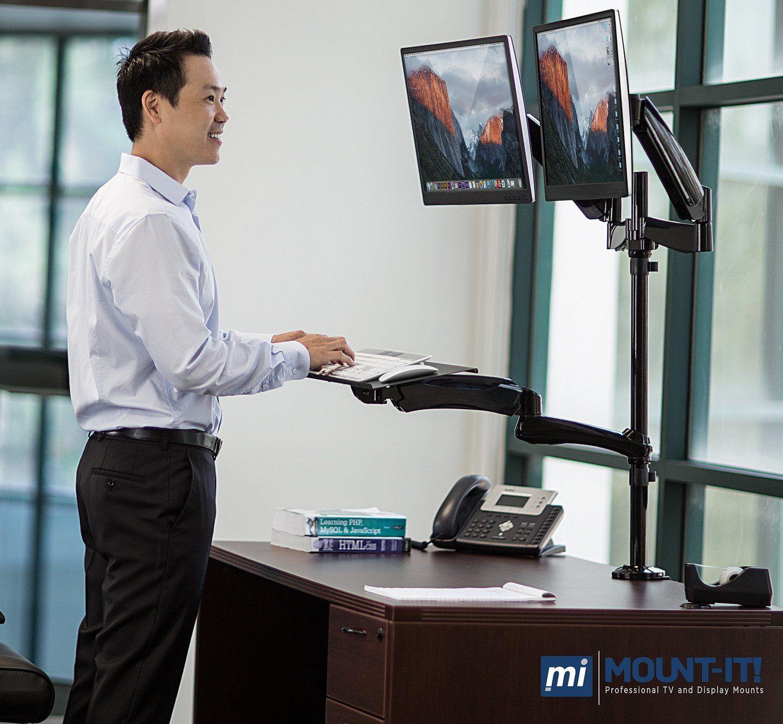 Amazon Com Mount It Sit Stand Desk Mount Workstation Height Adjustable Standing Adjustable Height Standing Desk Adjustable Standing Desk Dual Monitor Stand
