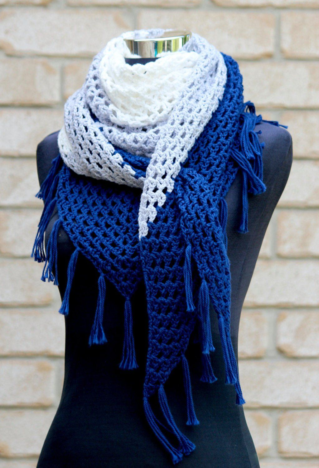 Crochet Pattern UK terms. Almost a Granny Triangle Scarf