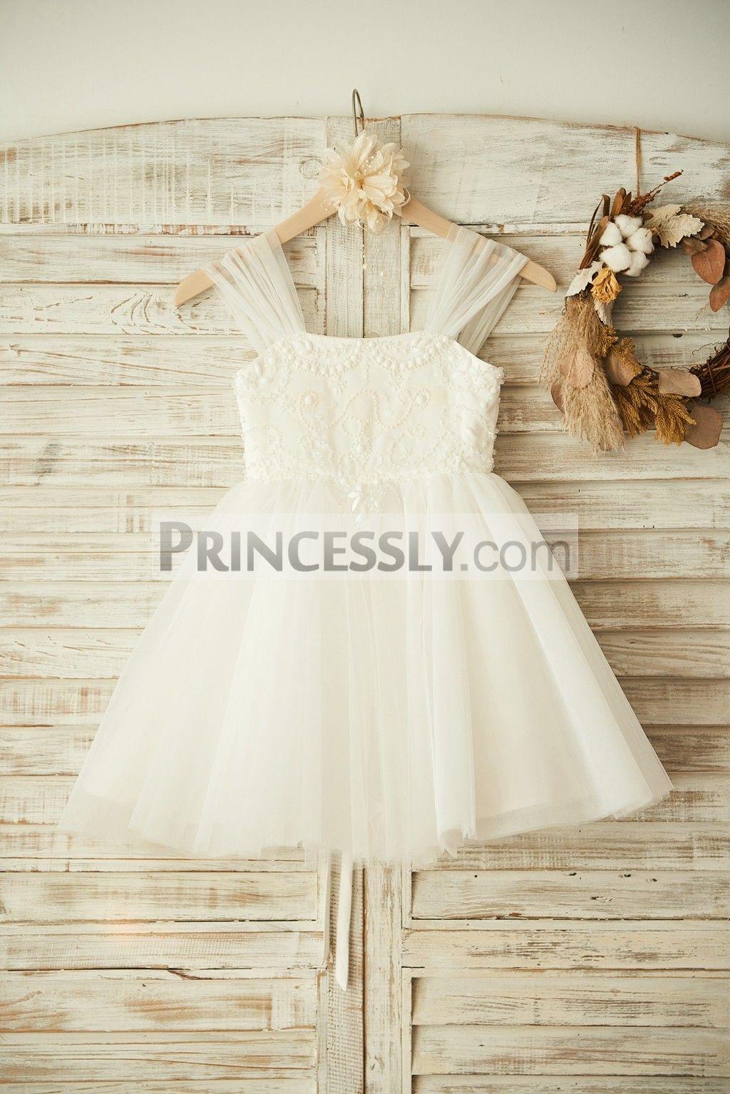 Boho Beach Ivory Tulle Beaded Wedding Flower Girl Dress | Flower ...