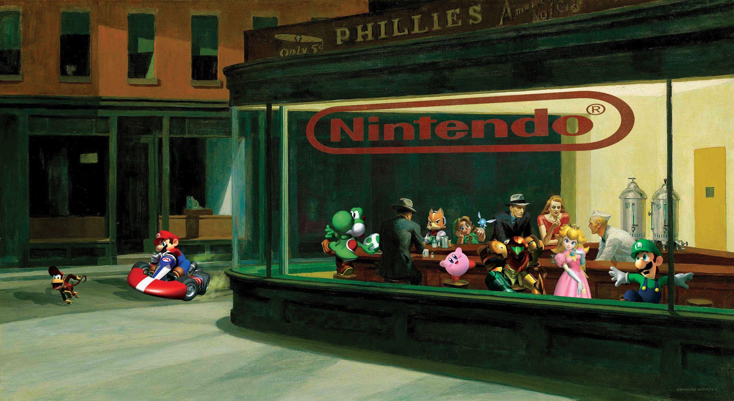 Art Parodies Nintendo Cast Nighthawks Long-shot Deviantart Parodies- Hopper