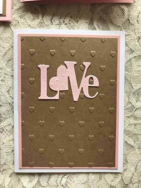 greeting cards handmade set of 4 ooak love cards love