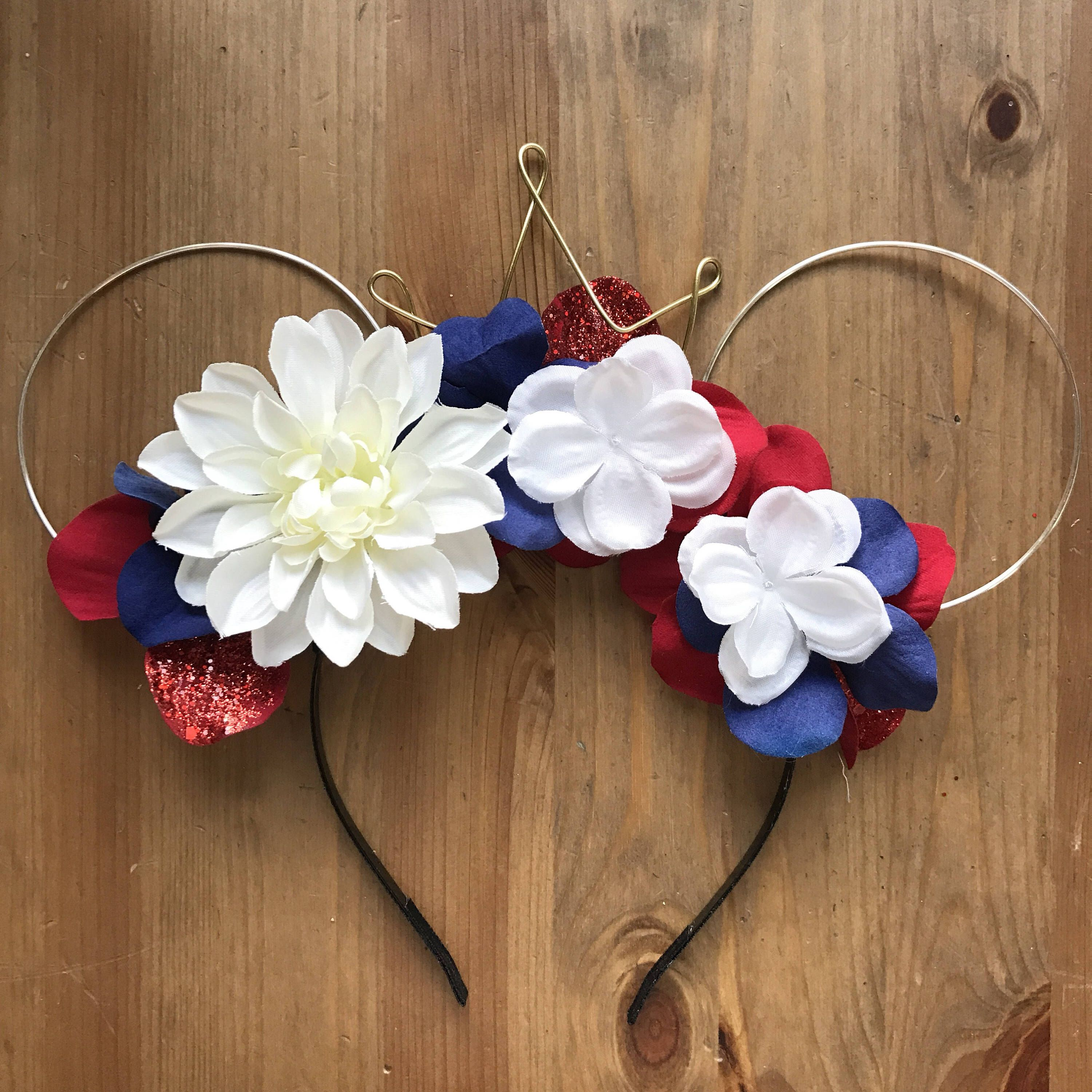 Wire mouse ears 4th of july mouse ears wire ear headband flower wire mouse ears 4th of july mouse ears wire ear headband flower headband tiara crown minnie flower crown dapper day flower mickey ear izmirmasajfo