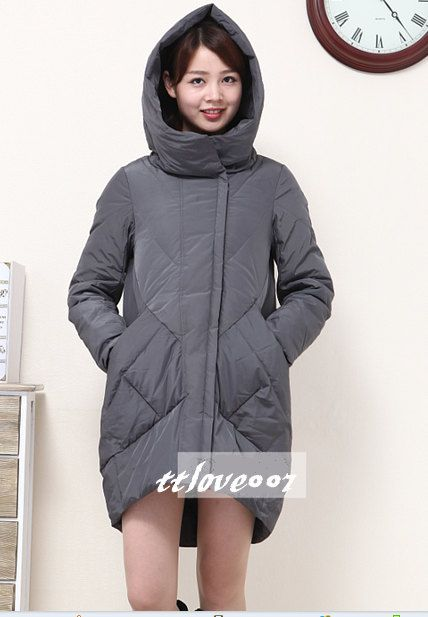 Womens Winter Long Hoodie DownJacket Down Coat 99%Goose Down ...