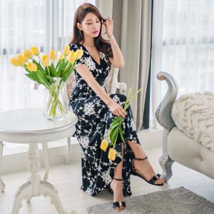花系女神V領長洋裝#Maxi#dress