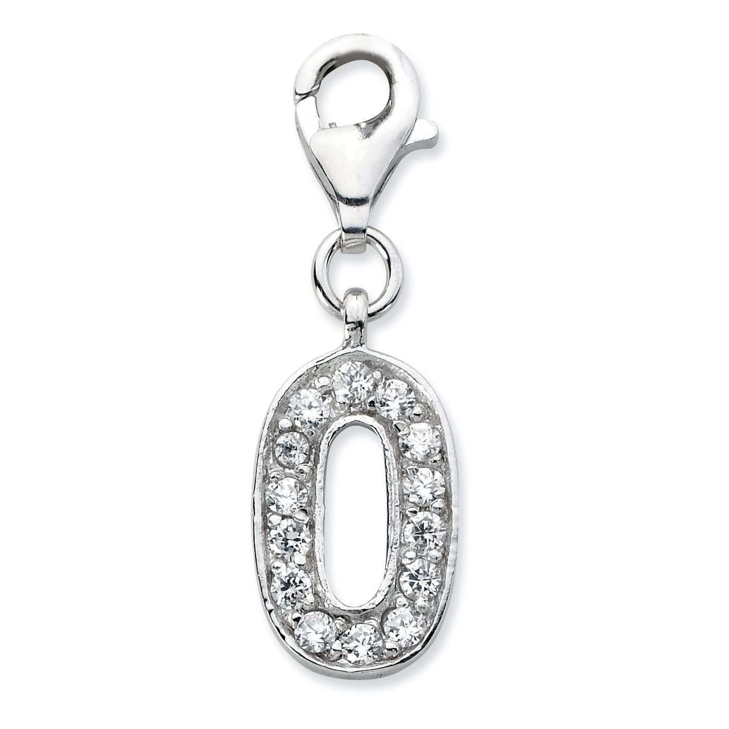 Sterling Silver CZ Numeral 0 w/Lobster Clasp Charm QCC105N0