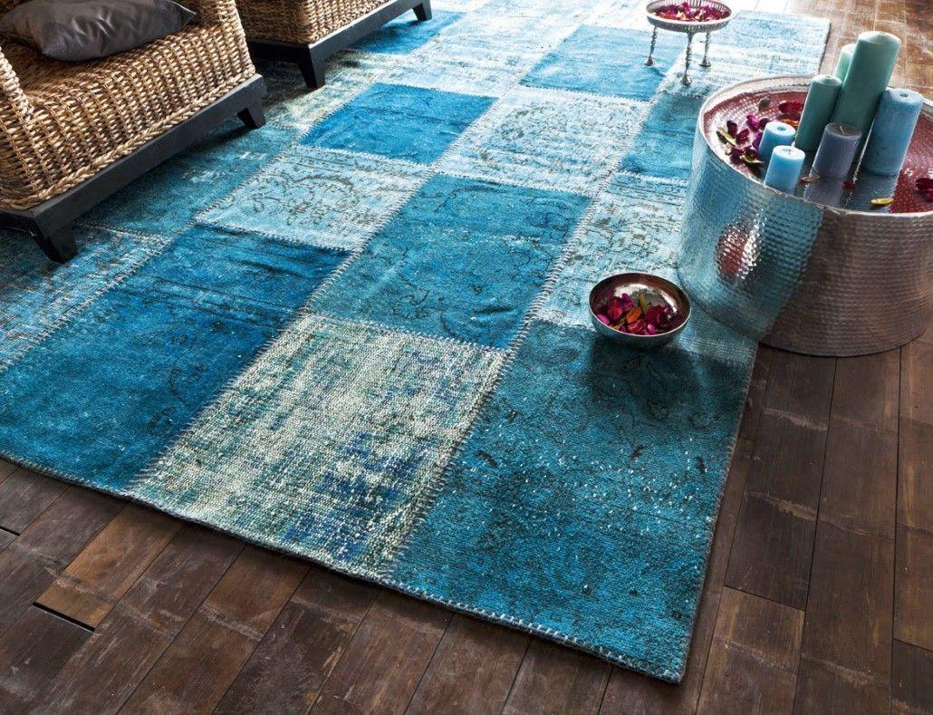 Célèbre Tapis orient patchworck vintage turquoise | maison > salon + salle  UU58