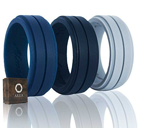 Silicone Weddings Rings For Men By Arua 3pack Comfortable And Durable Rubber Wedding Bands For Sp Rubber Wedding Band Silicone Wedding Rings Mens Wedding Rings