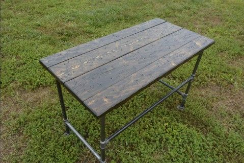 Modern Industrial Table / Desk made from Distressed Wood with Steel Pipe Legs by FlairOfTheSouth on Etsy
