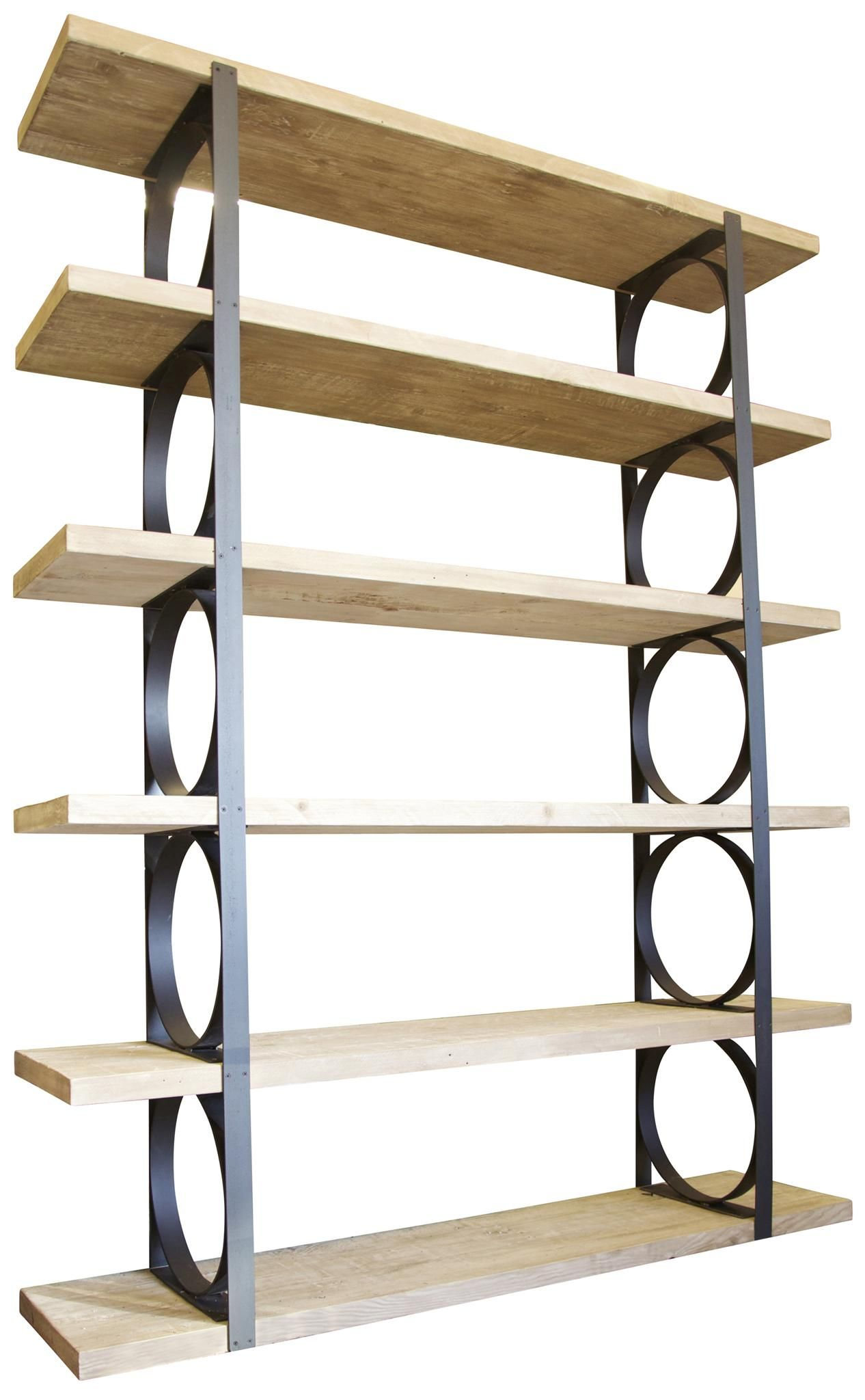 Accessories U0026 Furniture,Attractive Metal And Wood Bookcase With Circle  Shelf On Black Iron Divider