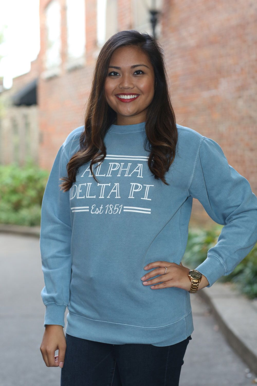 Alpha Delta Pi Comfort Color Crewneck Sweatshirt Adpi Letter Etsy Crew Neck Sweatshirt Alpha Delta Pi Monogram Jacket [ 1500 x 1000 Pixel ]