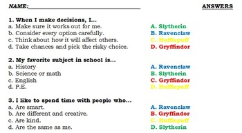 Harry Potter Sorting Hat Quiz For Students With Answer Key Harry Potter Sorting Hat Harry Potter Sorting Hat Quiz Harry Potter Sorting