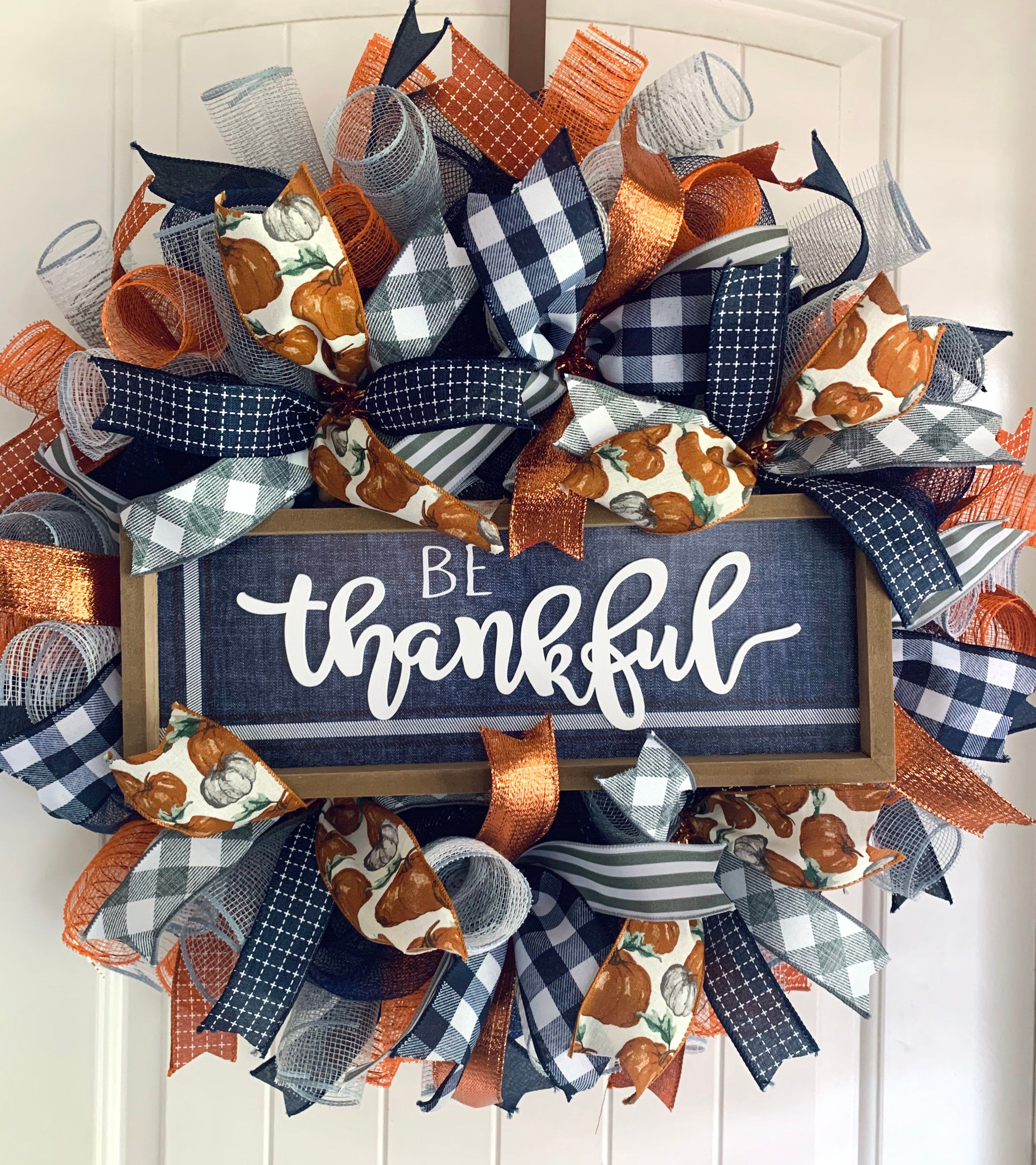 Fall Front Door Wreath Harvest Blessings Be Thankful Happy Etsy In 2020 Fall Decor Wreaths Autumn Wreaths For Front Door Fall Thanksgiving Wreaths