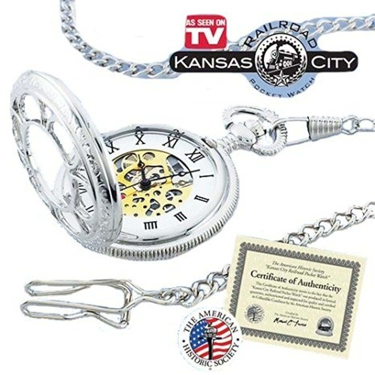 Kansas City Railroad Pocket Watch- Antique Style - in Silver Tone with Butterfly Hinge and 26' Pocket Chain- Nostalgic Time-Piece inspired by Jesse James' Train Robbery 1874 - comes with Certificate of Authenticity (As Seen ON TV) *** Read more at the image link.