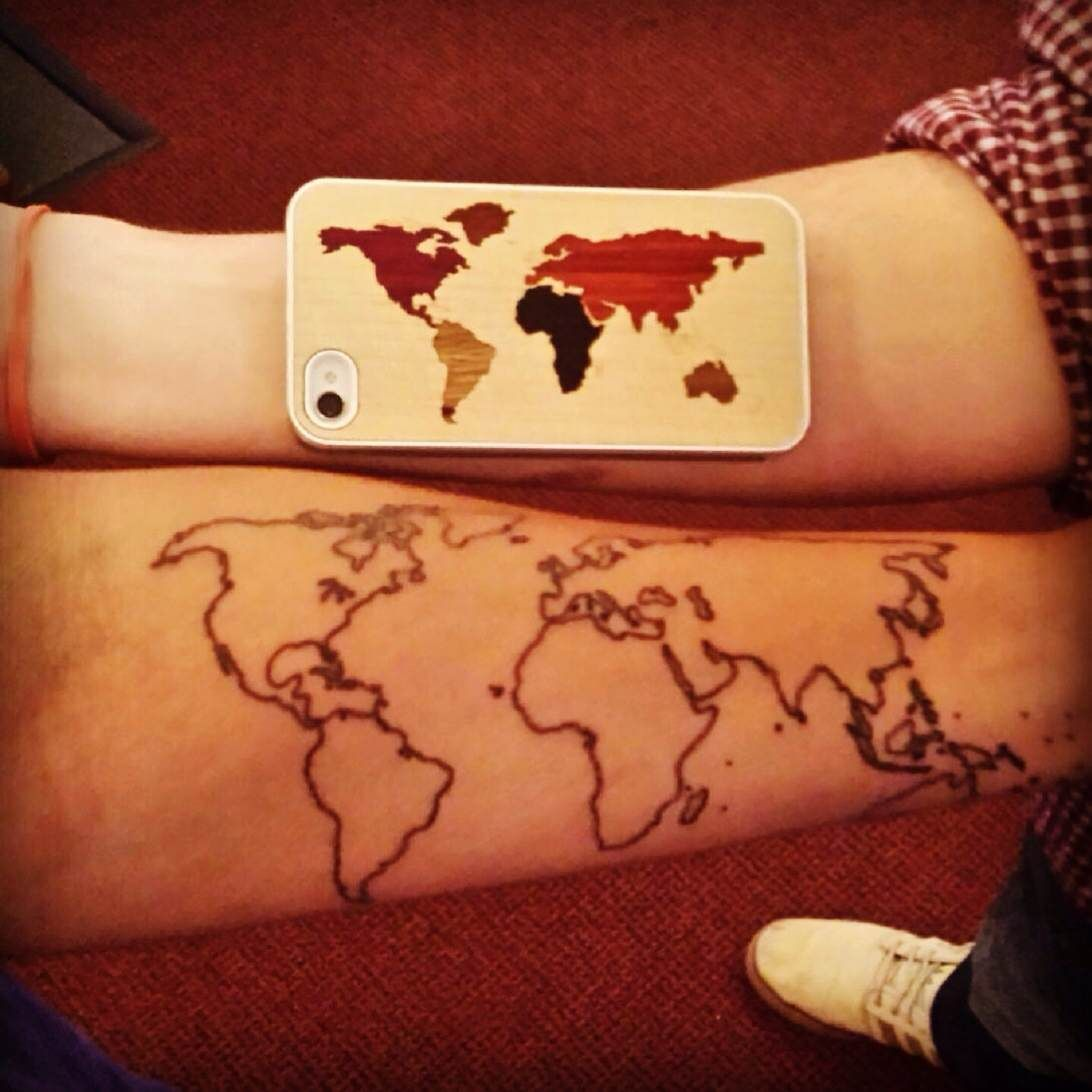 World map tattoo forearm inkspiration pinterest tattoo world map tattoo forearm gumiabroncs Images