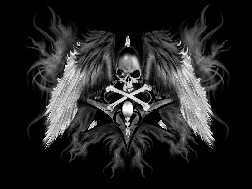 Gothic Skull Skull Wallpaper Angel Wallpaper Hd Skull Wallpapers Dark wallpaper of death