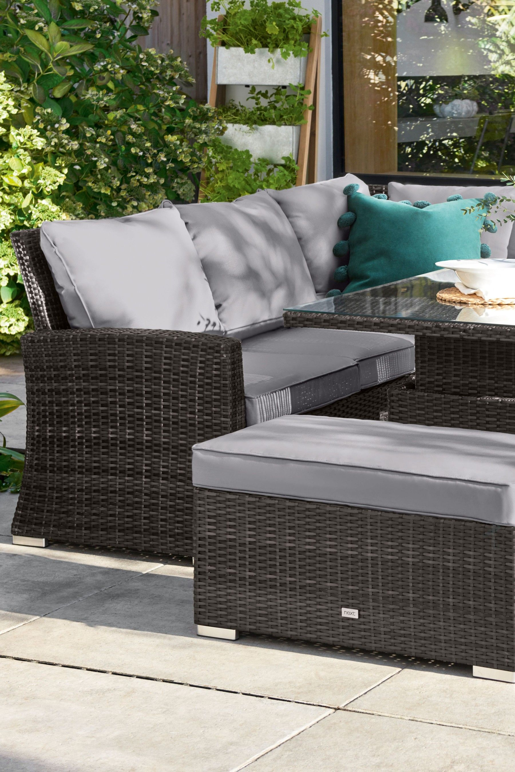 Buy Monaco Slim Living And Dining Table Garden Set from the Next