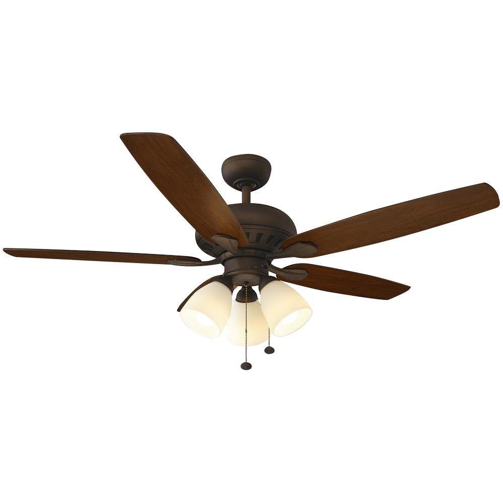 Hampton Bay Rockport 52 In Led Oil Rubbed Bronze Ceiling Fan With Light Kit 51751 Bronze Ceiling Fan