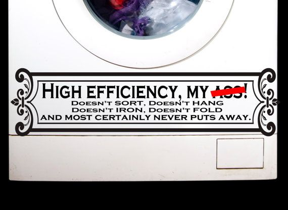 High efficiency washer dryer decal appliance decals quirky decals for your washer dryer
