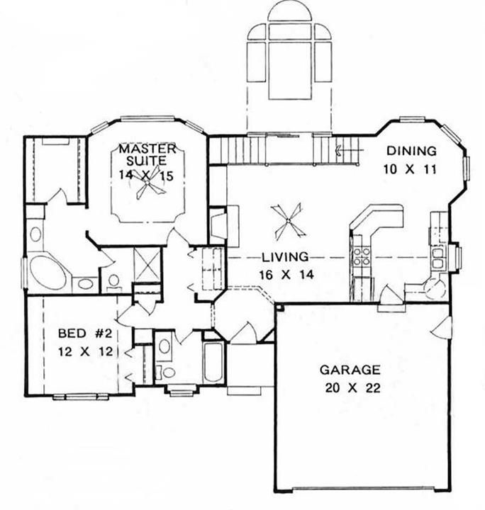 Ranch Home With 2 Bdrms 1265 Sq Ft House Plan 103 1109 Tpc House Plans One Story House Plans Garage House Plans